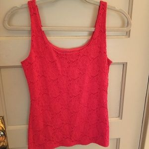 Fitted red lace tanktop by WHBM